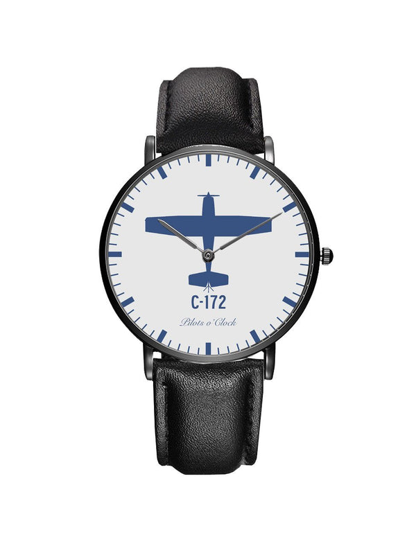 Cessna 172 Leather Strap Watches Pilot Eyes Store Silver & Black Nylon Strap