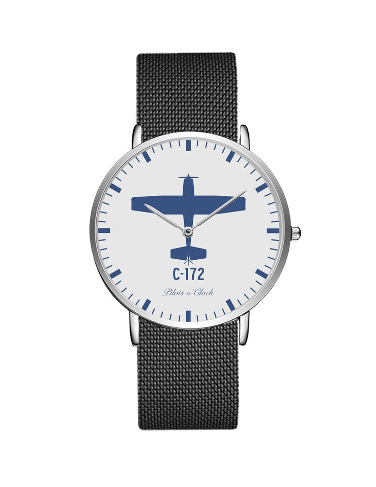 Cessna 172 Stainless Steel Strap Watches Pilot Eyes Store Silver & Black Stainless Steel Strap