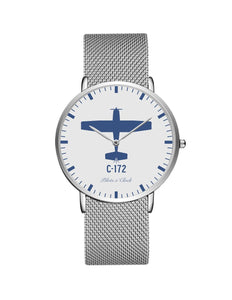 Cessna 172 Stainless Steel Strap Watches Pilot Eyes Store Silver & Silver Stainless Steel Strap