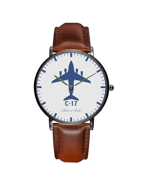 Boeing GlobeMaster C-17 Leather Strap Watches Pilot Eyes Store Black & Brown Leather Strap