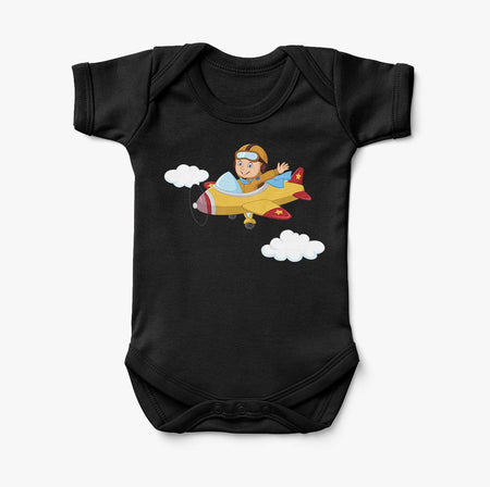 Cartoon Little Boy Operating Plane Designed Baby Bodysuits