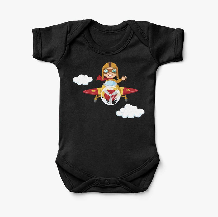 Cartoon Little Boy Operating Plane (Edition 2) Designed Baby Bodysuits