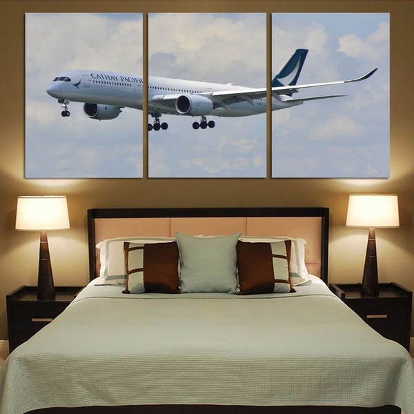 Cathay Pacific Airbus A350 Printed Canvas Posters (3 Pieces)