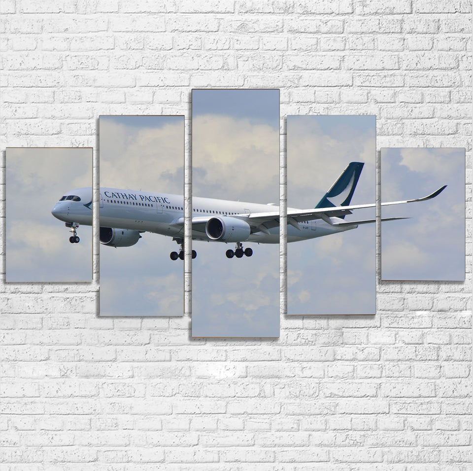 Cathay Pacific Airbus A350 Printed Multiple Canvas Poster Aviation Shop
