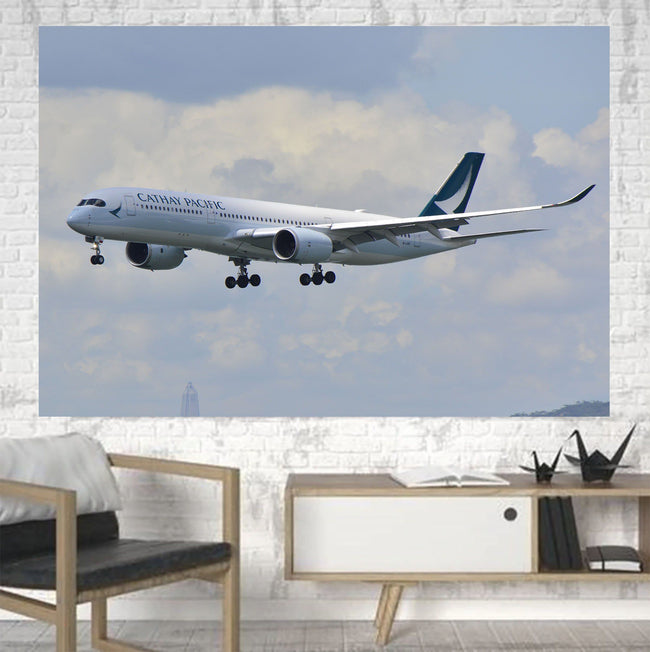 Cathay Pacific Airbus A350 Printed Canvas Posters (1 Piece) Aviation Shop