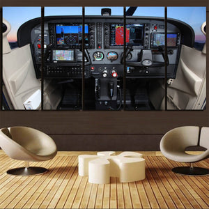 Cessna 172 Cockpit Canvas Prints (5 Pieces) Aviation Shop
