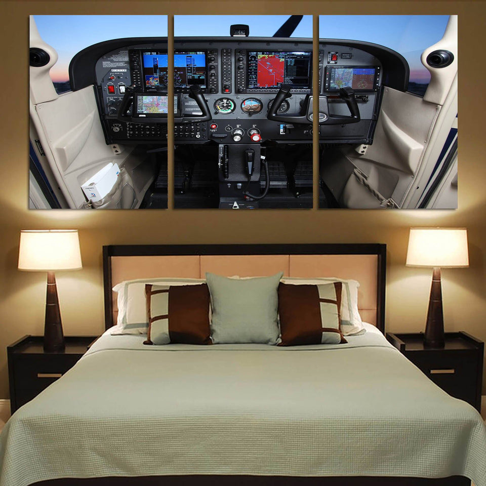 Cessna 172 Cockpit Printed Canvas Posters (3 Pieces) Aviation Shop