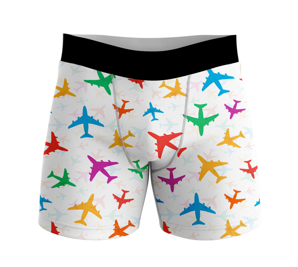 Cheerful Seamless Airplanes Designed Men Boxers