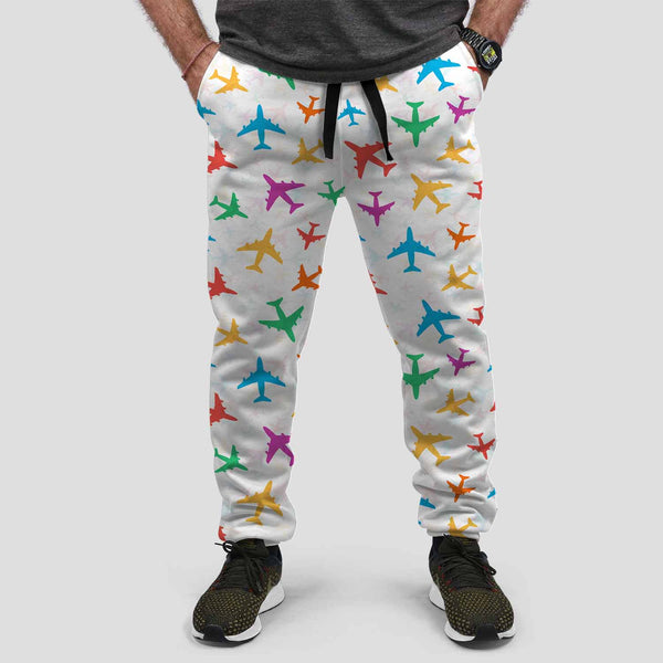 Cheerful Seamless Airplanes Designed Sweat Pants & Trousers