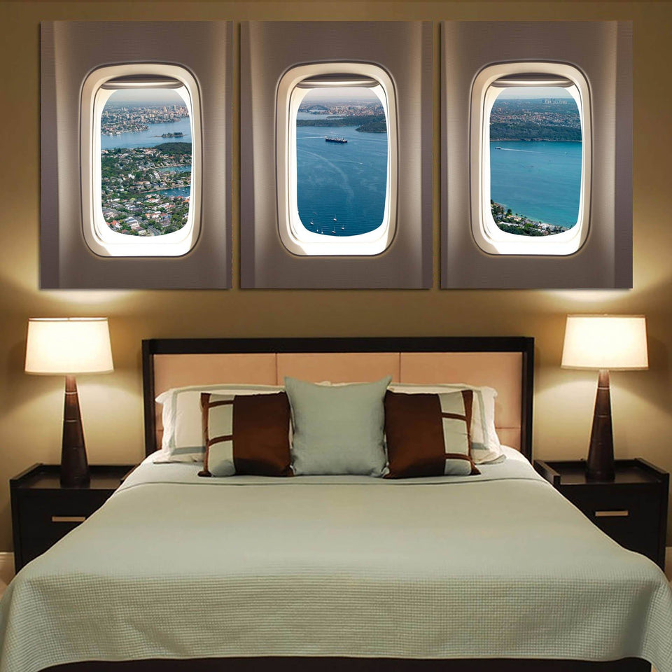 City view & River through Airplane Windows Printed Canvas Posters (3 Pieces) Aviation Shop