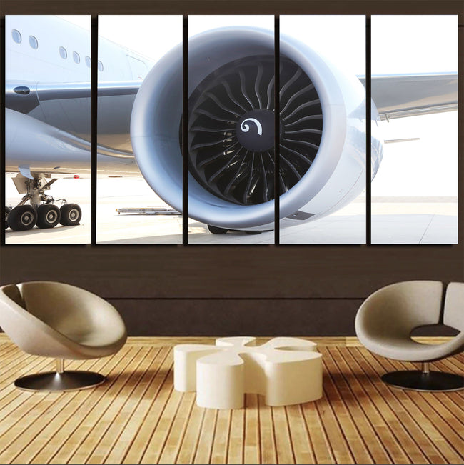 Close Up to Boeing 777 Engine Printed Canvas Prints (5 Pieces) Aviation Shop