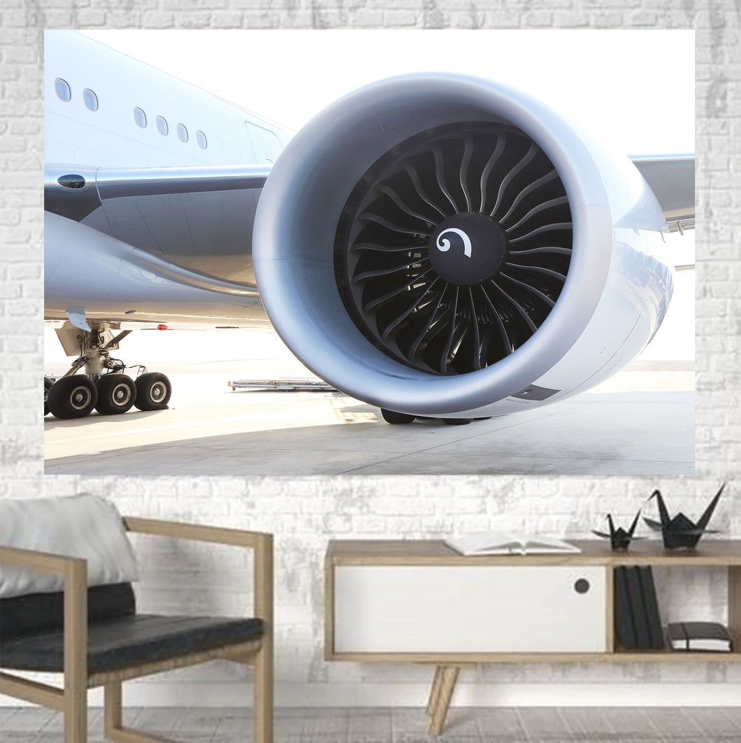 Close Up to Boeing 777 Engine Printed Canvas Posters (1 Piece) Aviation Shop
