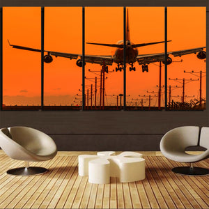Close up to Boeing 747 Landing at Sunset Canvas Prints (5 Pieces)
