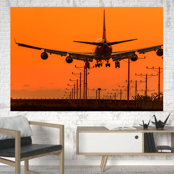 Close up to Boeing 747 Landing at Sunset Printed Canvas Posters (1 Piece)