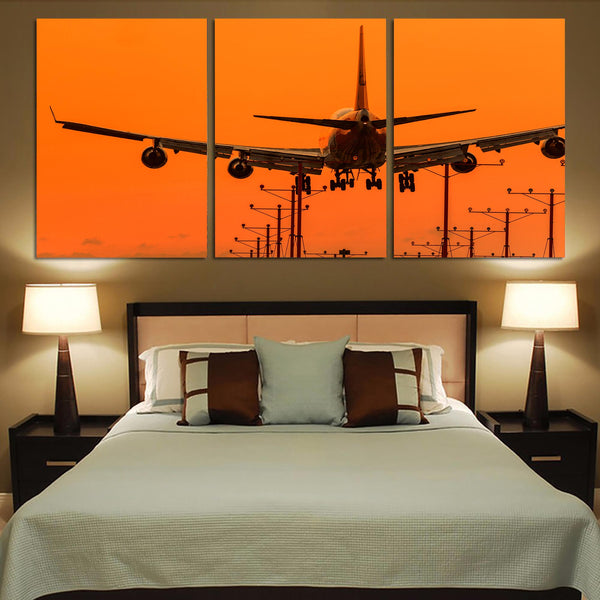 Close up to Boeing 747 Landing at Sunset Printed Canvas Posters (3 Pieces)