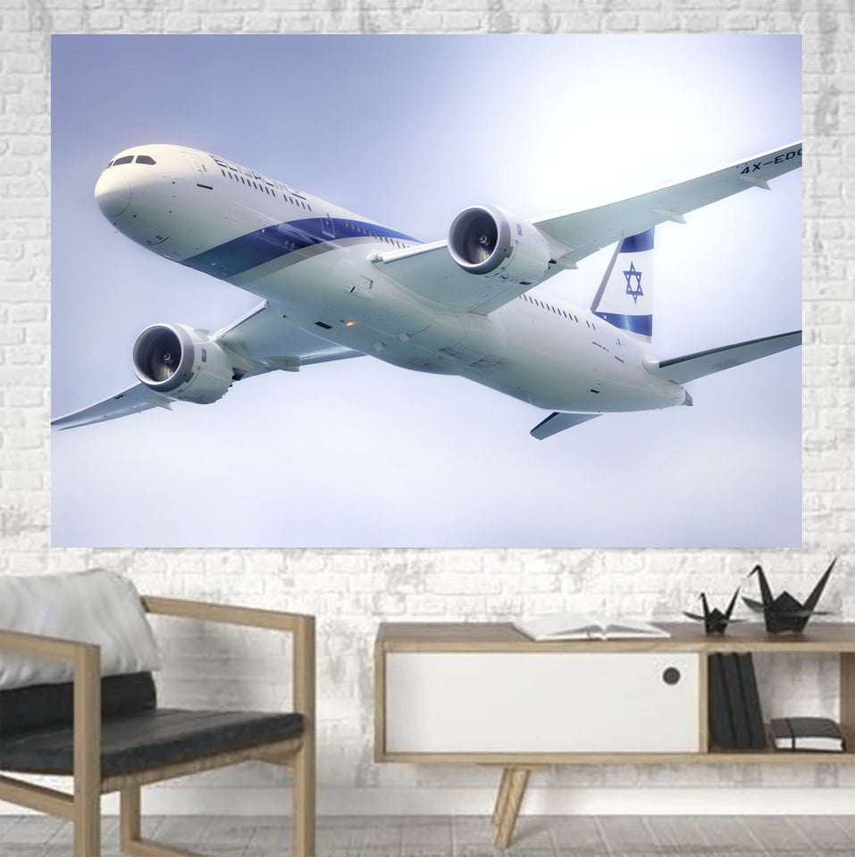 Close up to Israel Airways (El-al) Boeing 787 Printed Canvas Posters (1 Piece) Aviation Shop
