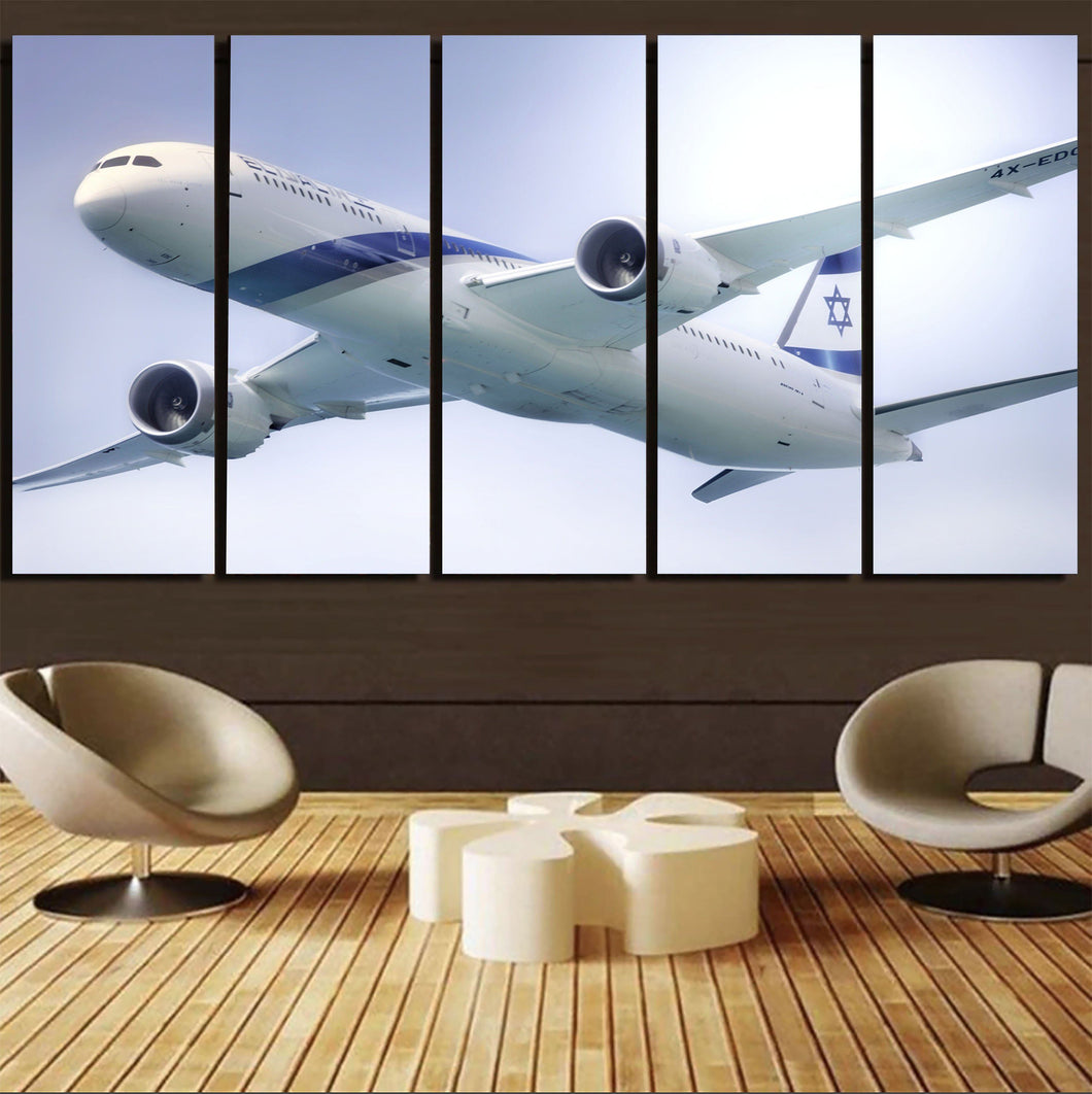 Close up to Israel Airways (El-al) Boeing 787 Printed Canvas Prints (5 Pieces) Aviation Shop