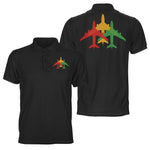 Colourful 3 Airplanes Designed Double Side Polo T-Shirts