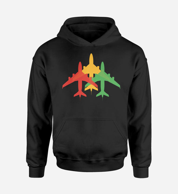 Colourful 3 Airplanes Designed Hoodies