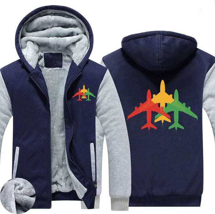 Colourful 3 Airplanes Designed Zipped Sweatshirts