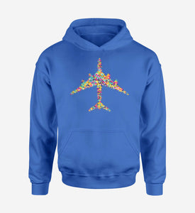 Colourful Airplane Designed Hoodies