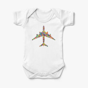 Colourful Airplane Designed Baby Bodysuits