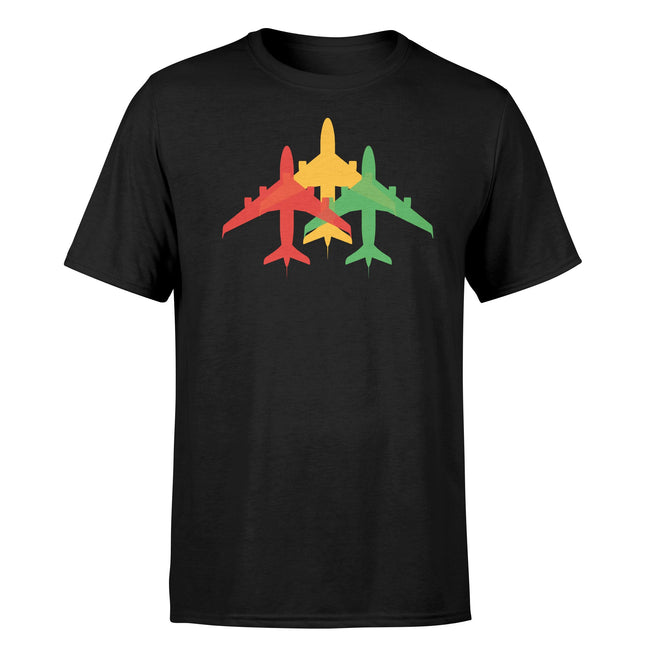 Colourful 3 Airplanes Designed T-Shirts