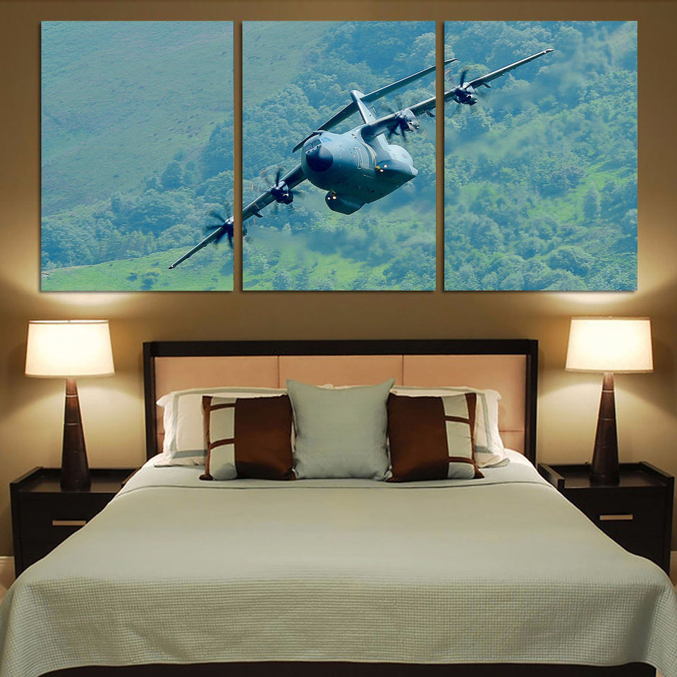 Cruising Airbus A400M Printed Canvas Posters (3 Pieces) Aviation Shop