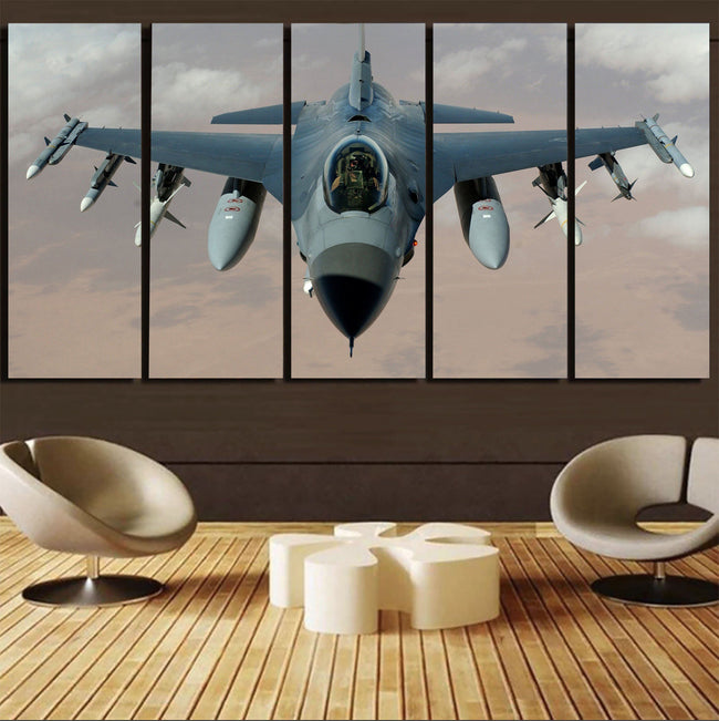 Cruising Fighting Falcon F16 Printed Canvas Prints (5 Pieces) Aviation Shop