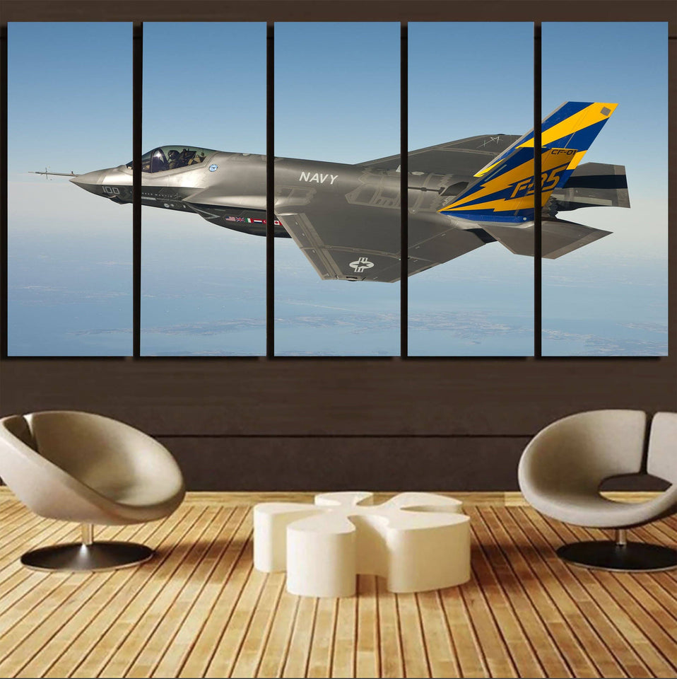 Cruising Fighting Falcon F35 Printed Canvas Prints (5 Pieces) Aviation Shop