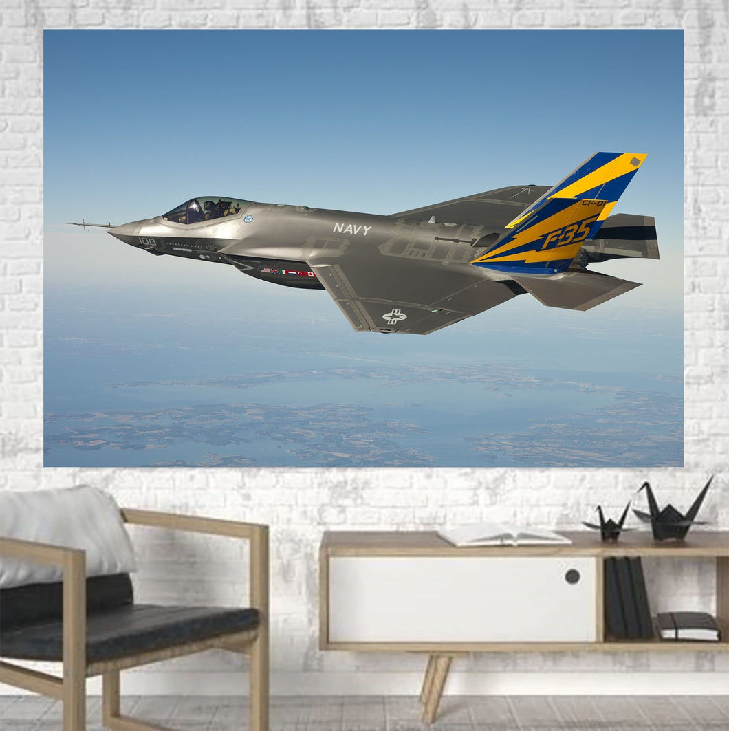 Cruising Fighting Falcon F35 Printed Canvas Posters (1 Piece) Aviation Shop