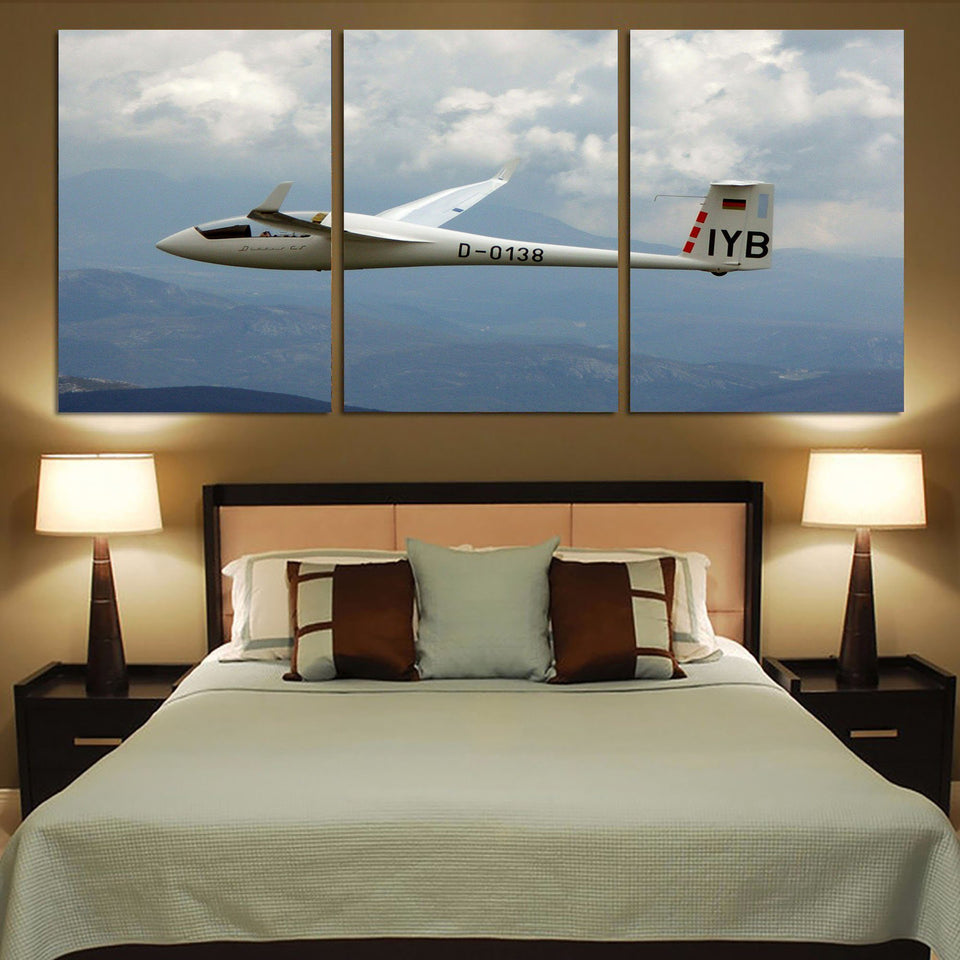 Cruising Glider Printed Canvas Posters (3 Pieces) Aviation Shop