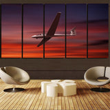 Cruising Glider at Sunset Printed Canvas Prints (5 Pieces) Aviation Shop