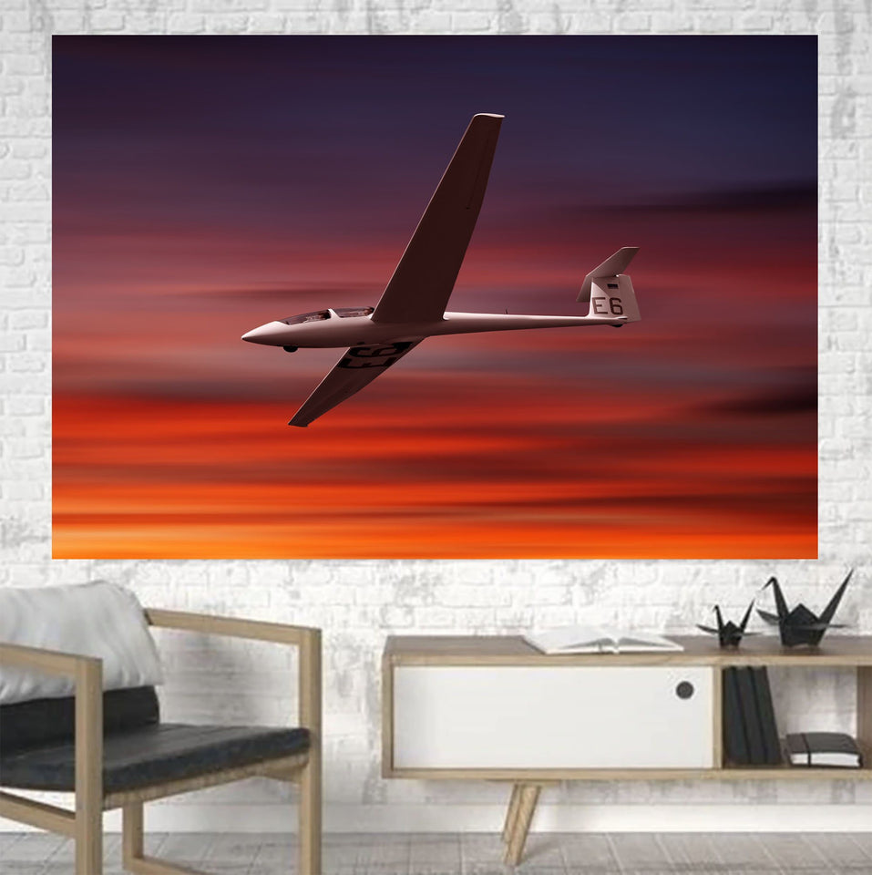 Cruising Glider at Sunset Printed Canvas Posters (1 Piece) Aviation Shop