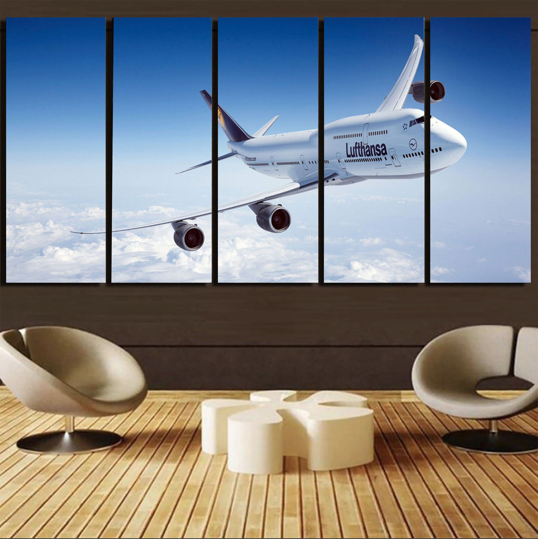Cruising Lufthansa's Boeing 747 Printed Canvas Prints (5 Pieces) Aviation Shop