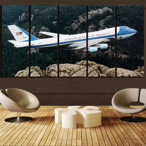 Cruising United States of America Boeing 747 Printed Canvas Prints (5 Pieces) Aviation Shop