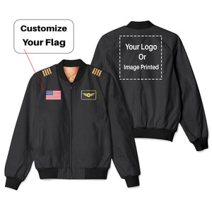 Custom Flag & Name & Logo Designed 3D Pilot Bomber Jackets