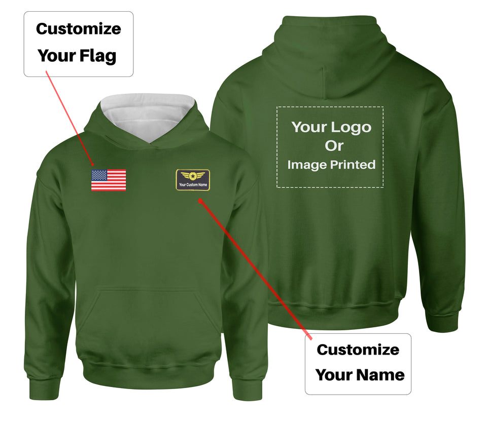 Custom Logo & Flag & Name Designed Double Side Hoodies