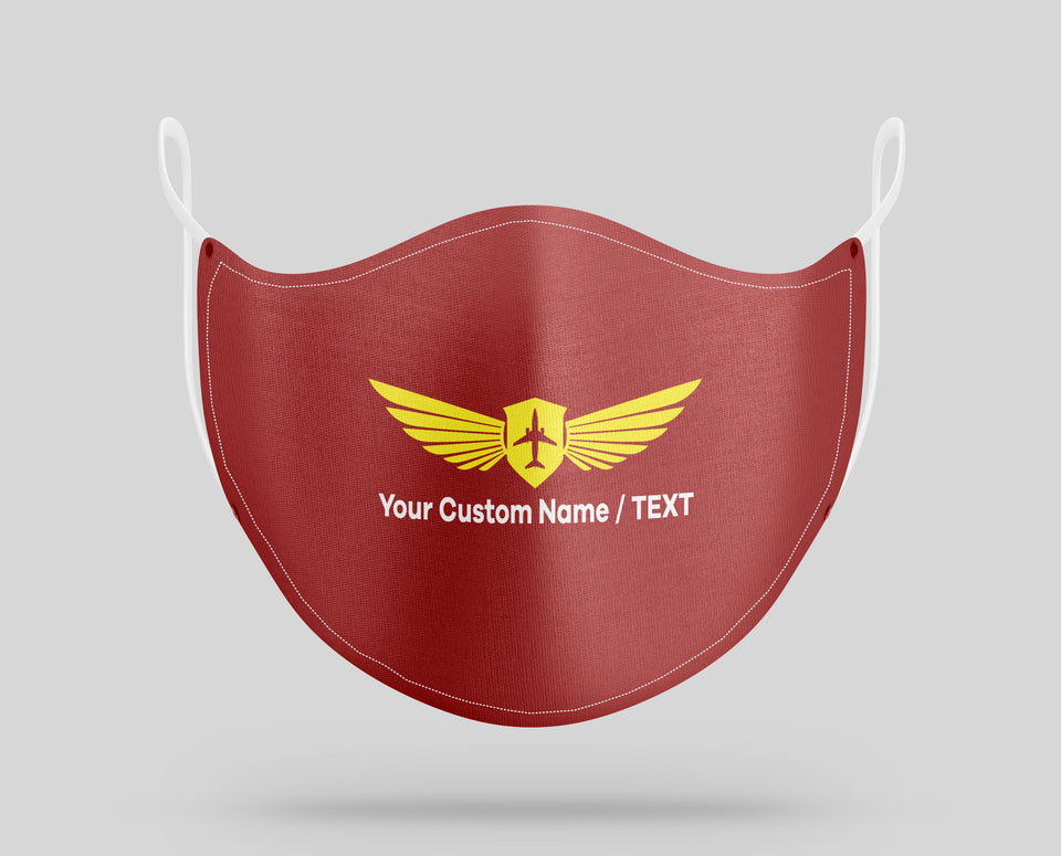 Your Custom Name & Text & Badge (2) Designed Face Masks