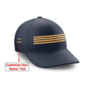 Customizable Name & Pilot Epaulette (4 Lines) Embroidered Hats