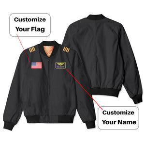 Custom Flag & Name Designed 3D Pilot Bomber Jackets