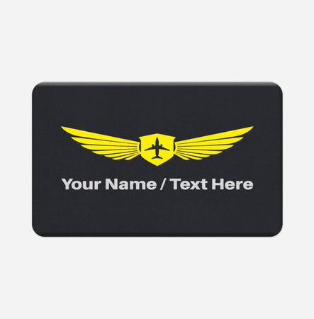 Customizable Name & Badge Designed Bath Mats Pilot Eyes Store Floor Mat 50x80cm