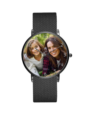 Your Custom Photo / Image Designed Stainless Steel Strap Watches Aviation Shop Black & Stainless Steel Strap