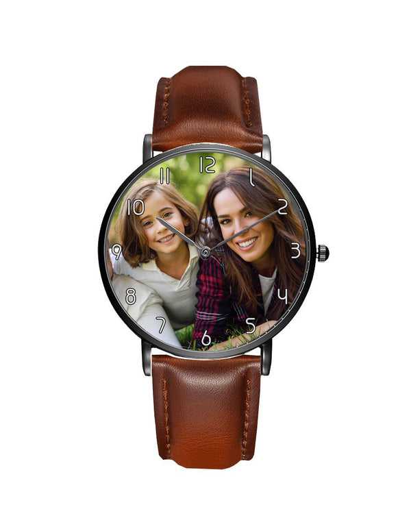 Your Custom Photo / Image Designed Leather Strap Watches Aviation Shop Black & Brown Leather Strap