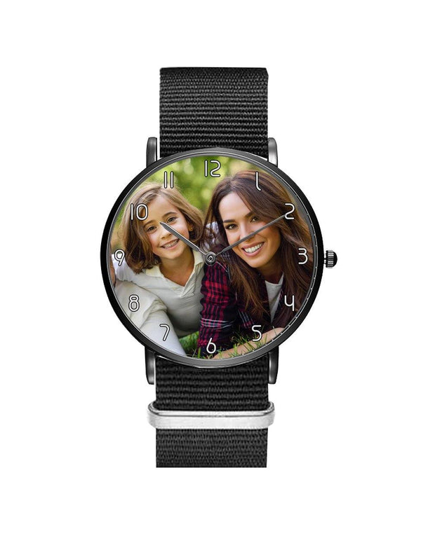 Your Custom Photo / Image Designed Leather Strap Watches Aviation Shop Silver & Black Nylon Strap