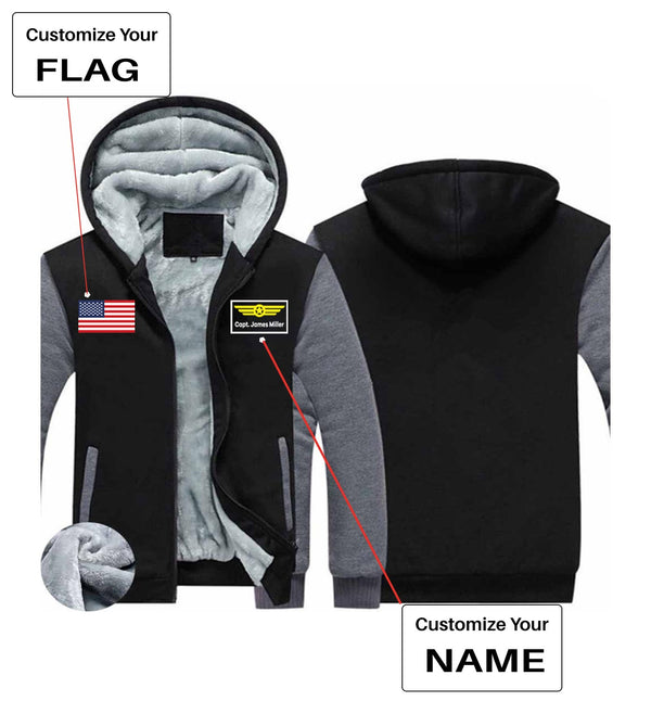 Your Custom Name & Flag Printed Zipped Sweatshirts