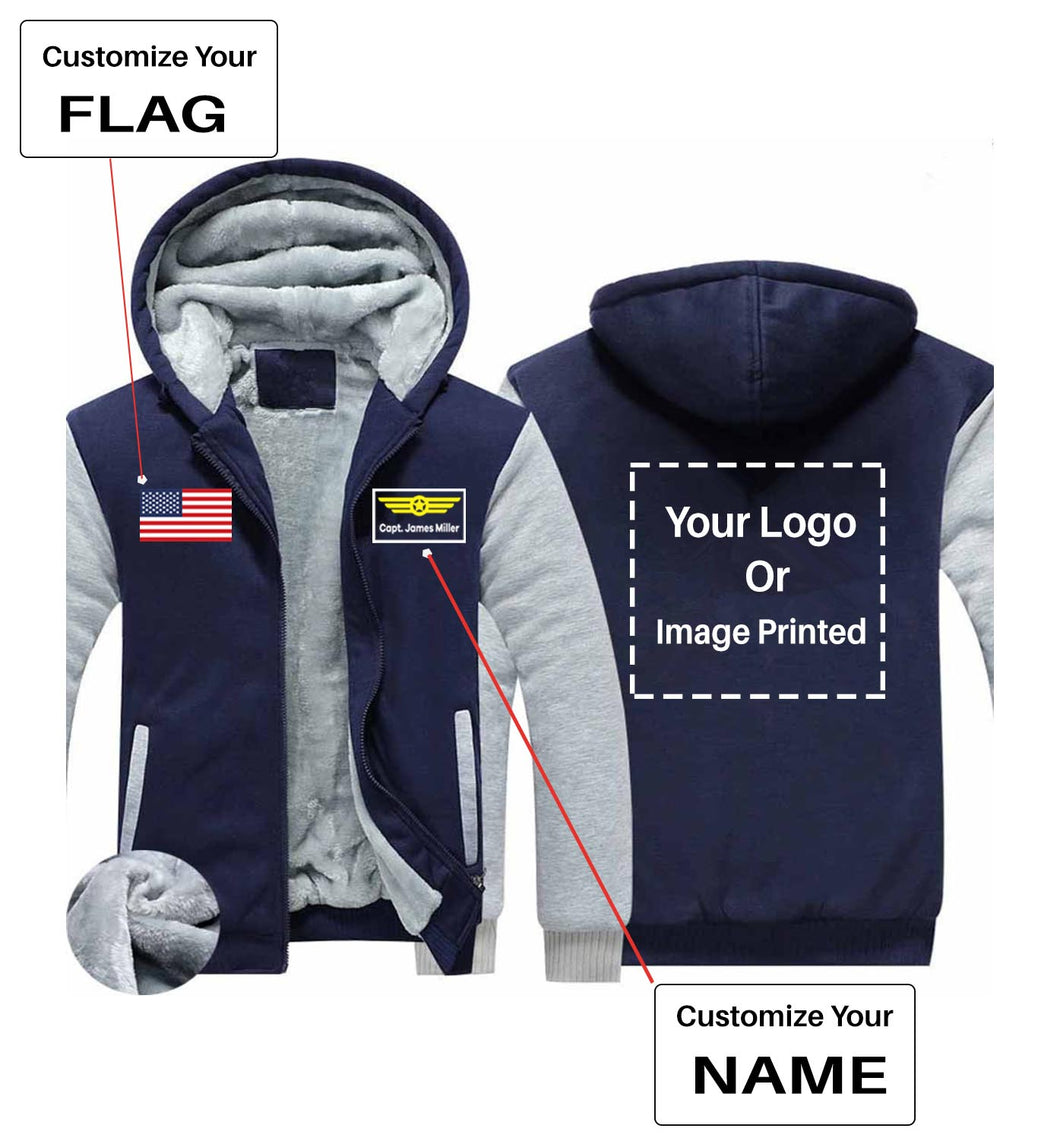 Your Custom Name & Flag + Logo Printed Zipped Sweatshirts