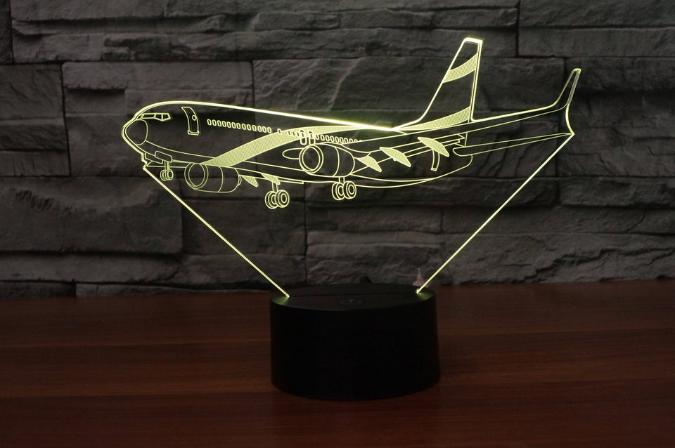 Landing Boeing 737 Designed 3D Lamp Aviation Shop