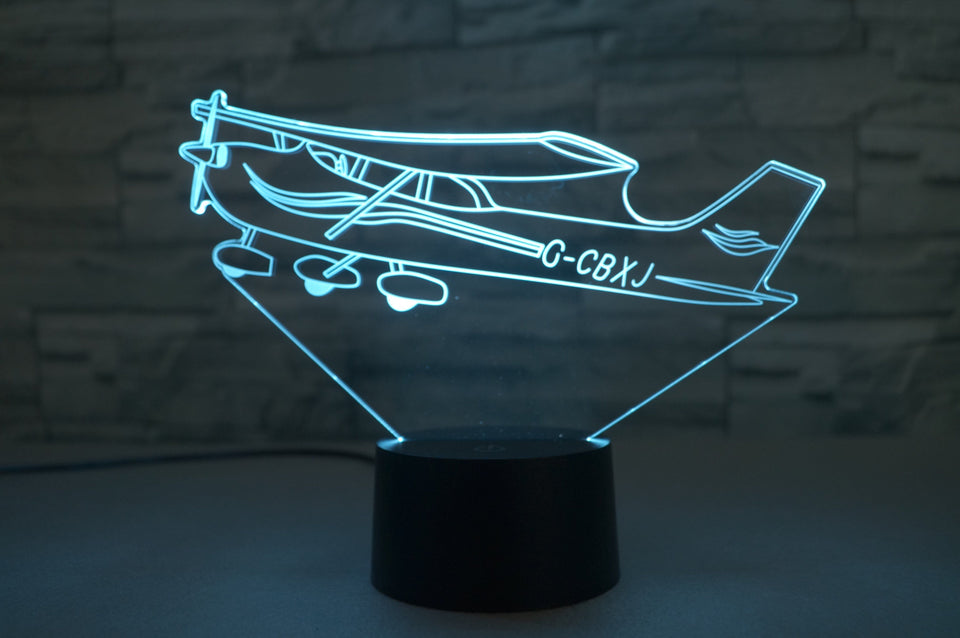 Beautiful Cessna Skyhawk Designed 3D Lamp Aviation Shop