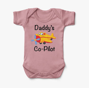 Daddy's Co-Pilot (Propeller) Designed Baby Bodysuits